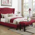 raye red upholstered bed