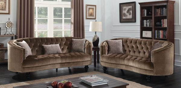 Manuela Brown Flannelette Sofa Loveseat Collection Las