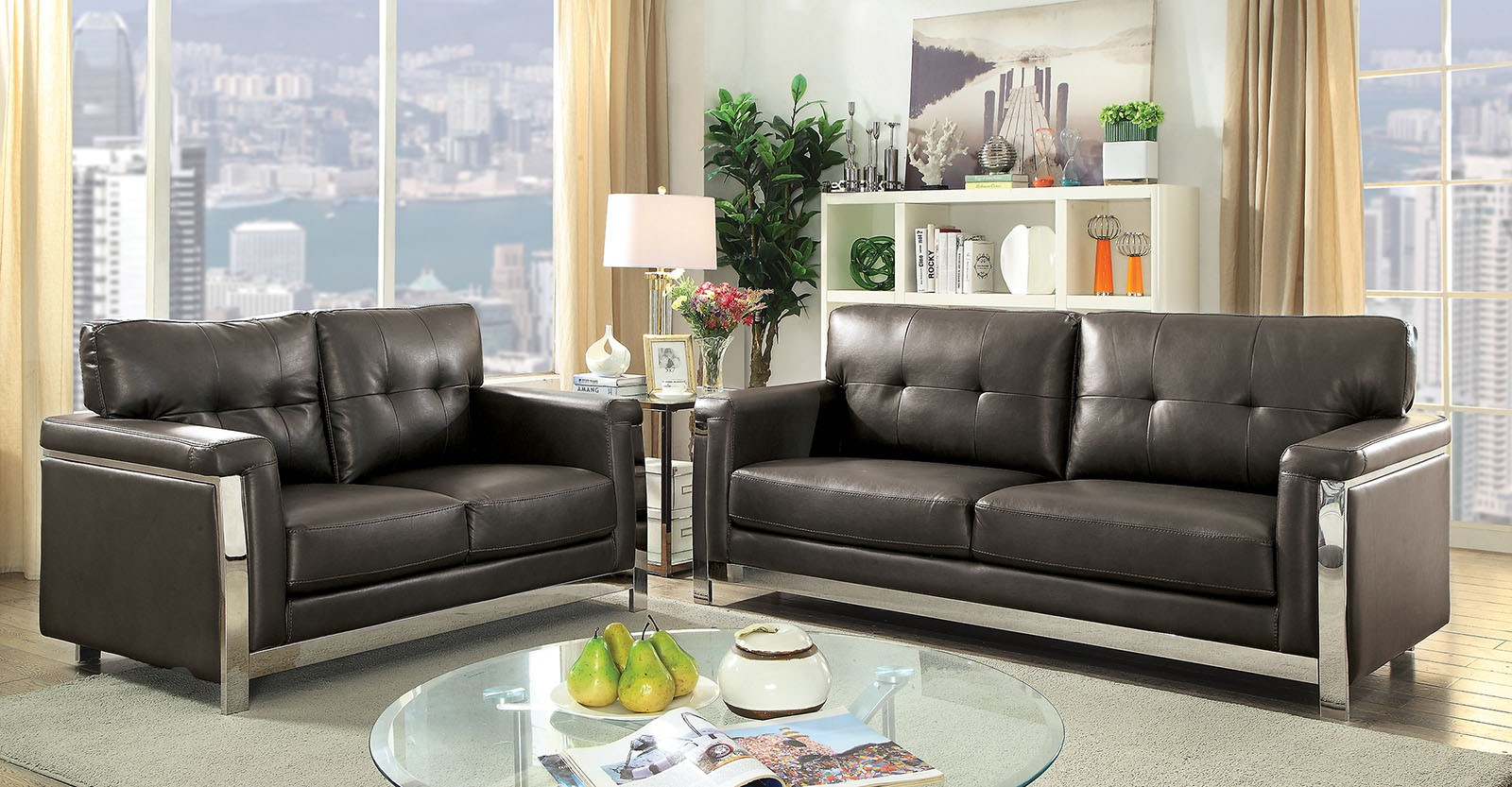 Nanette Grey Leather Gel Sofa Loveseat Collection Las