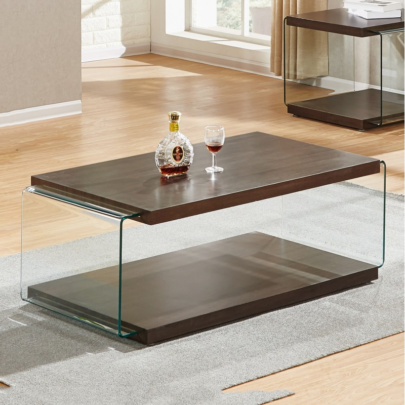 Glass Coffee Tables Durban: Andrea Walnut Clear Glass Side Collection