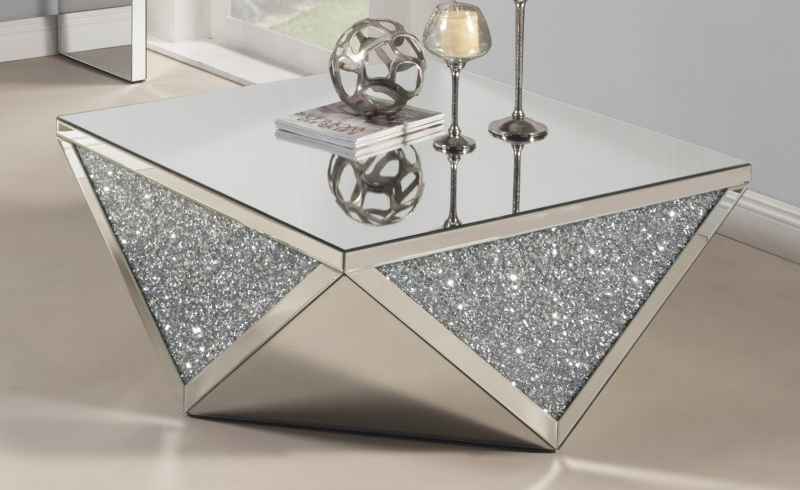 Cleo Clear Glass With Silver Dazzle Coffee Table Las
