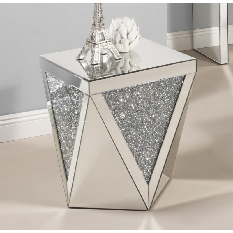 Cleo Clear Glass With Silver Dazzle End Table