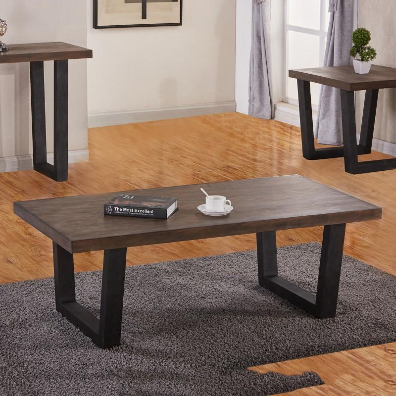 Rustic Brown Wood Coffee Table: Rustic Brown Wood Metal Legs Collection