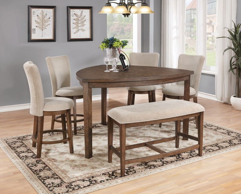 Dining Table Light Height: Guitar Pick Light Brown Wood 6pc Counter Height Table