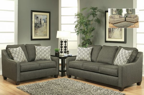 stoke-dark grey sofa and loveseat
