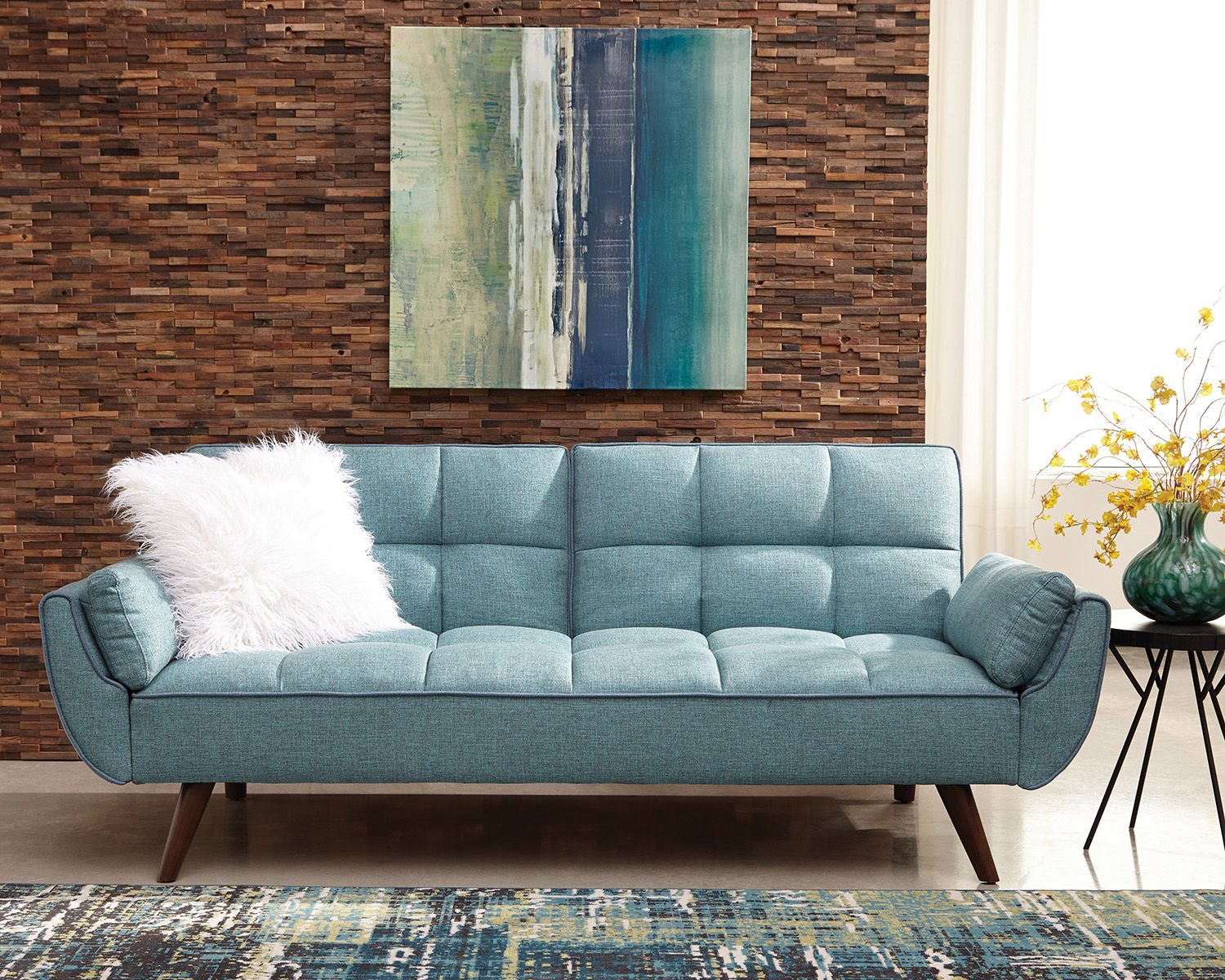 Cheyenne turquoise blue woven fabric sofa bed