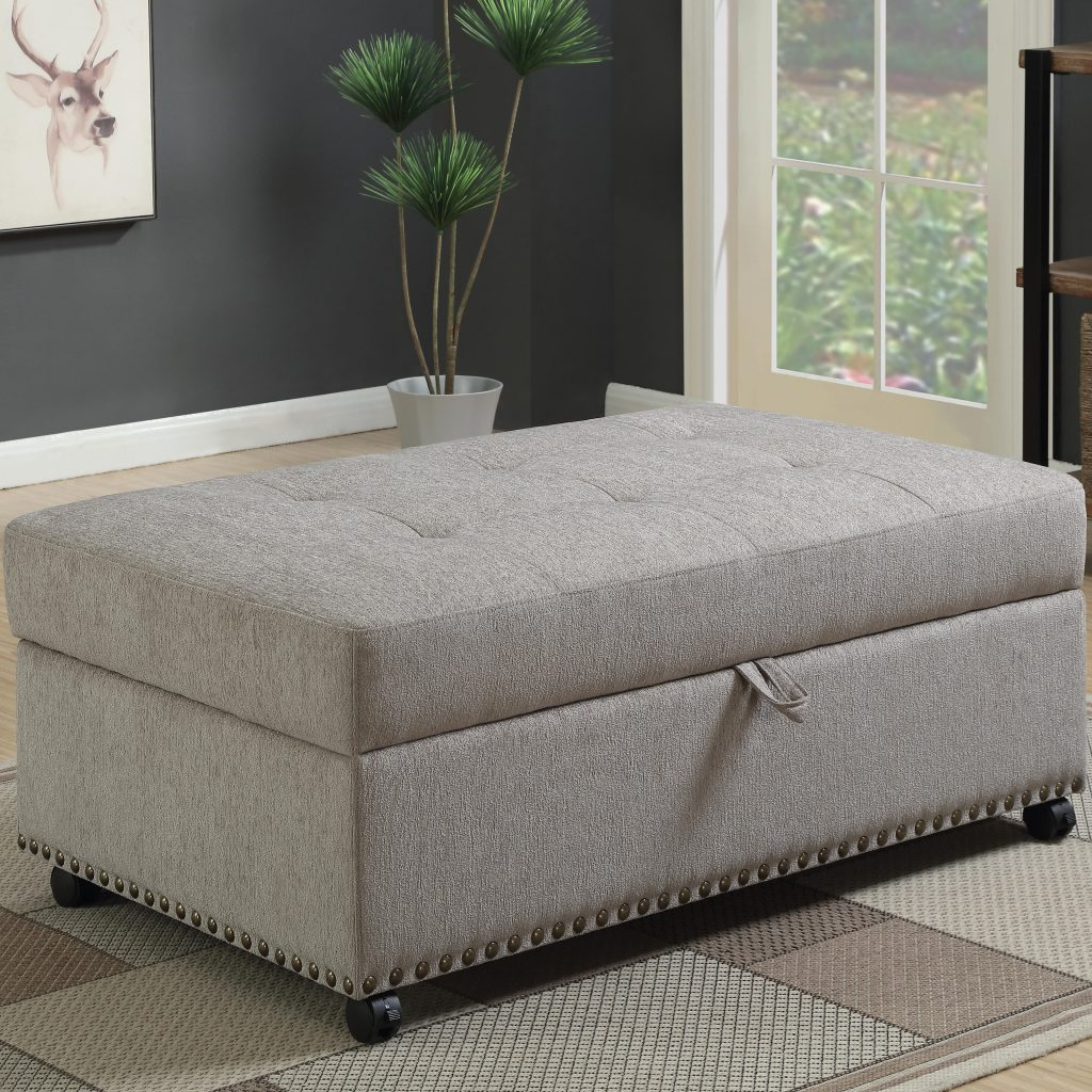 Sectional Couches Las Vegas Nv: Dove Grey Chenille Sleeper Ottoman