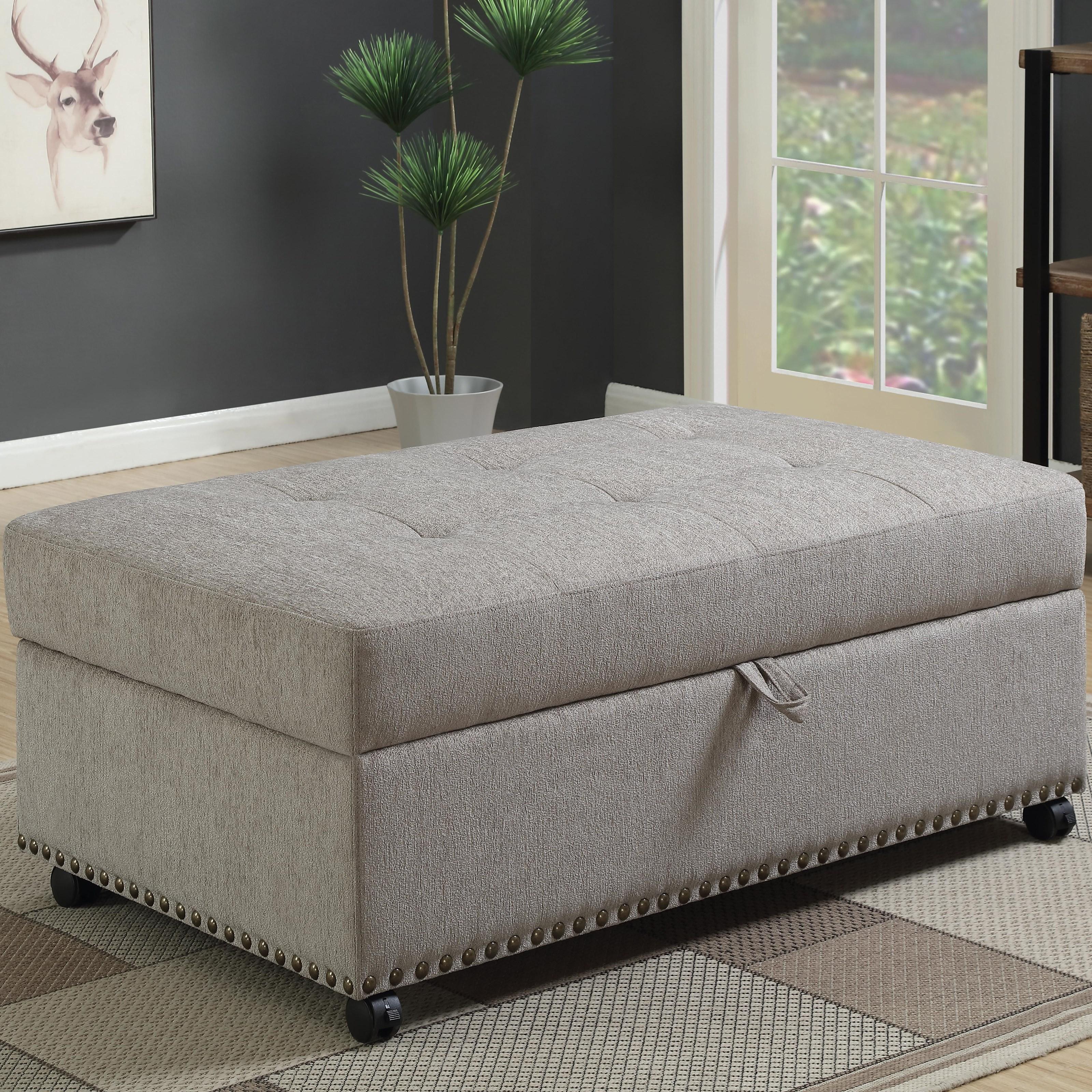 Dove Grey Chenille Sleeper Ottoman Las Vegas Furniture