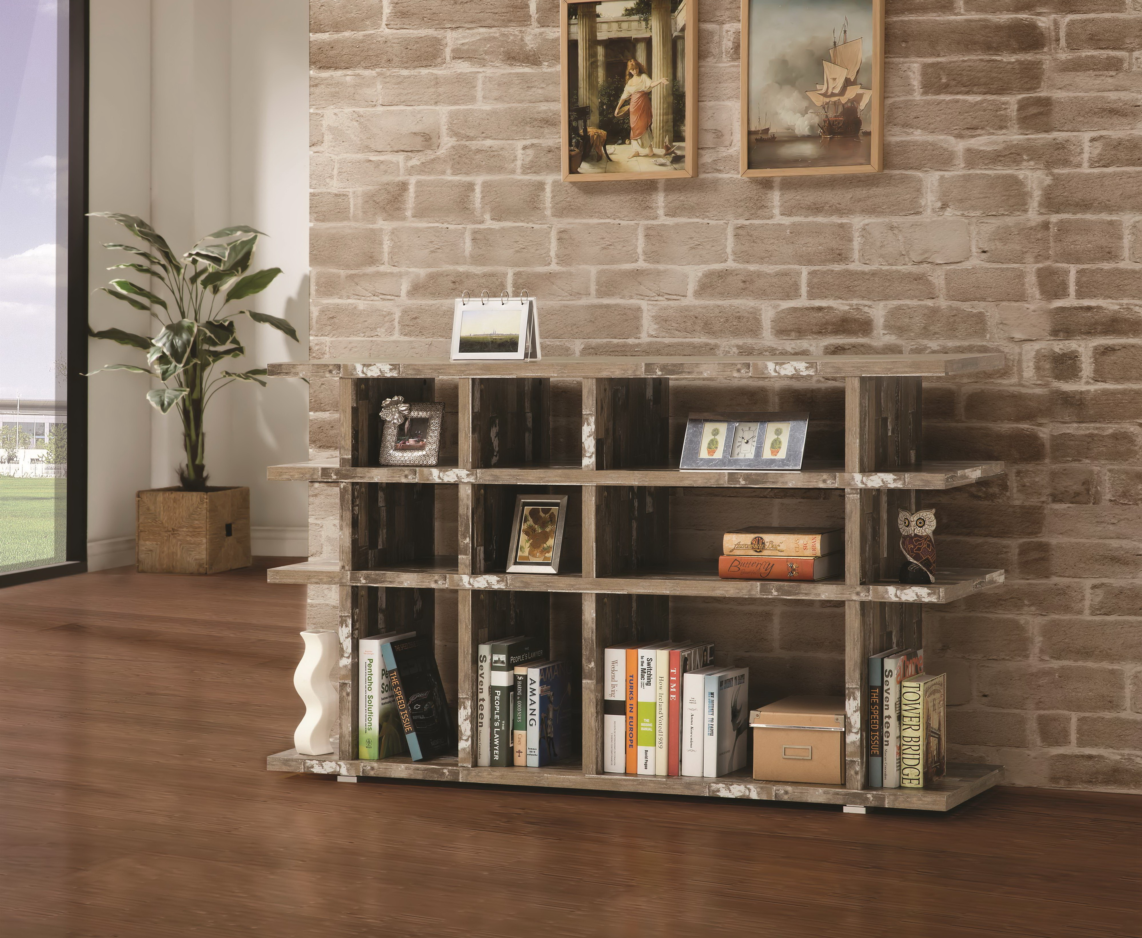 Salvaged Cabin Wood Silver Metal Finish Bookcase Las