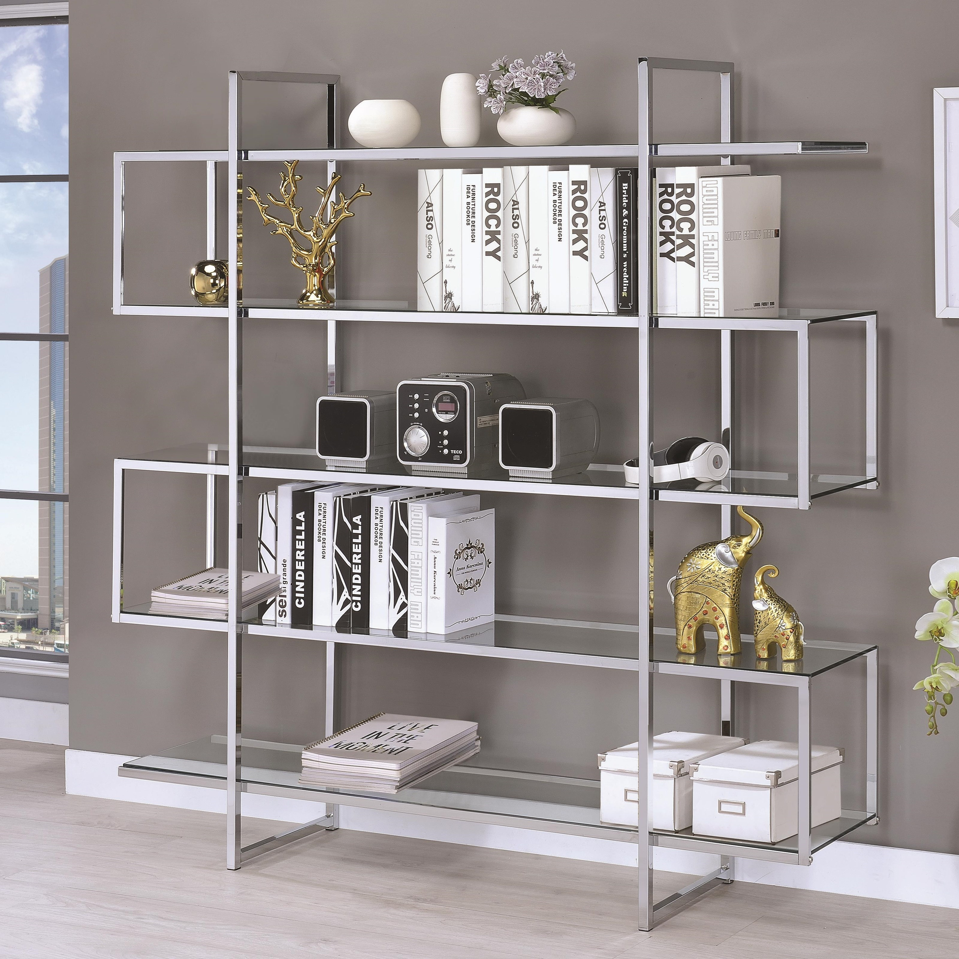 Chrome Clear Tempered Glass Bookcase Las Vegas Furniture