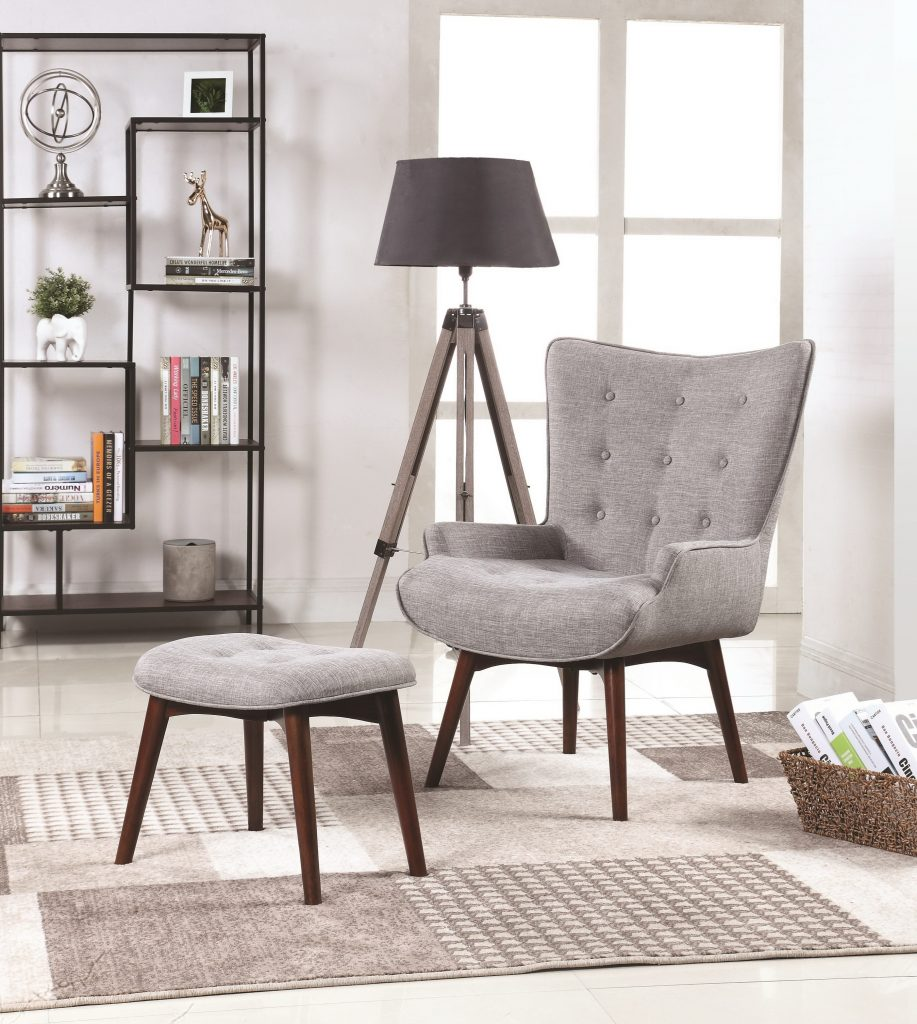 Sectional Couches Las Vegas Nv: Shane Grey Linen-Like Fabric Accent Chair And Ottoman Set