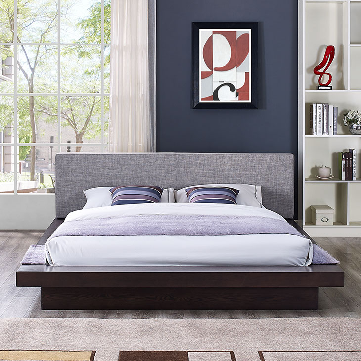 Freja Queen Fabric Cappuccino Platform Bed Collection