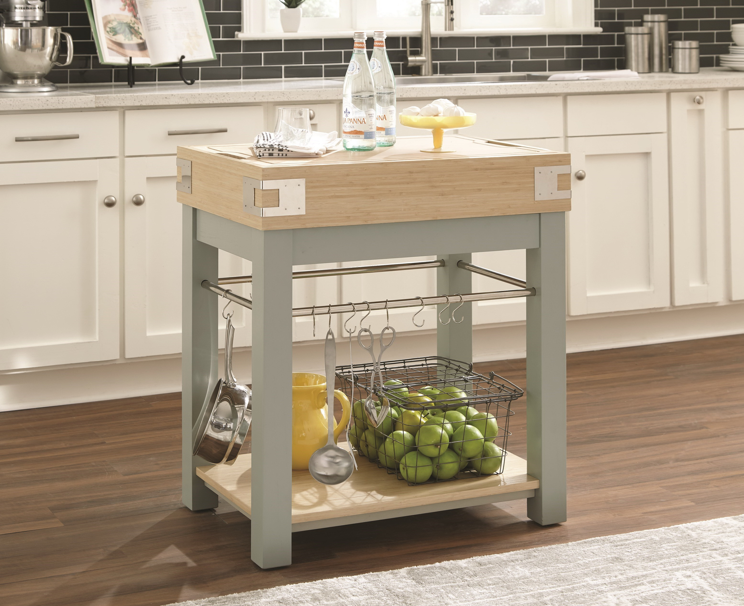 10298 Light Blue/ Oak Kitchen Island with Removable Cutting Board