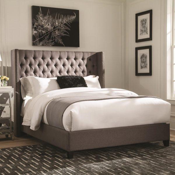 Benicia Grey Woven Fabric Platform Bed