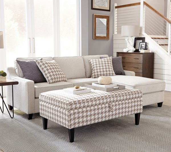 Ashley Furniture Outlet Las Vegas: Montgomery Cream Chenille Modern Sectional