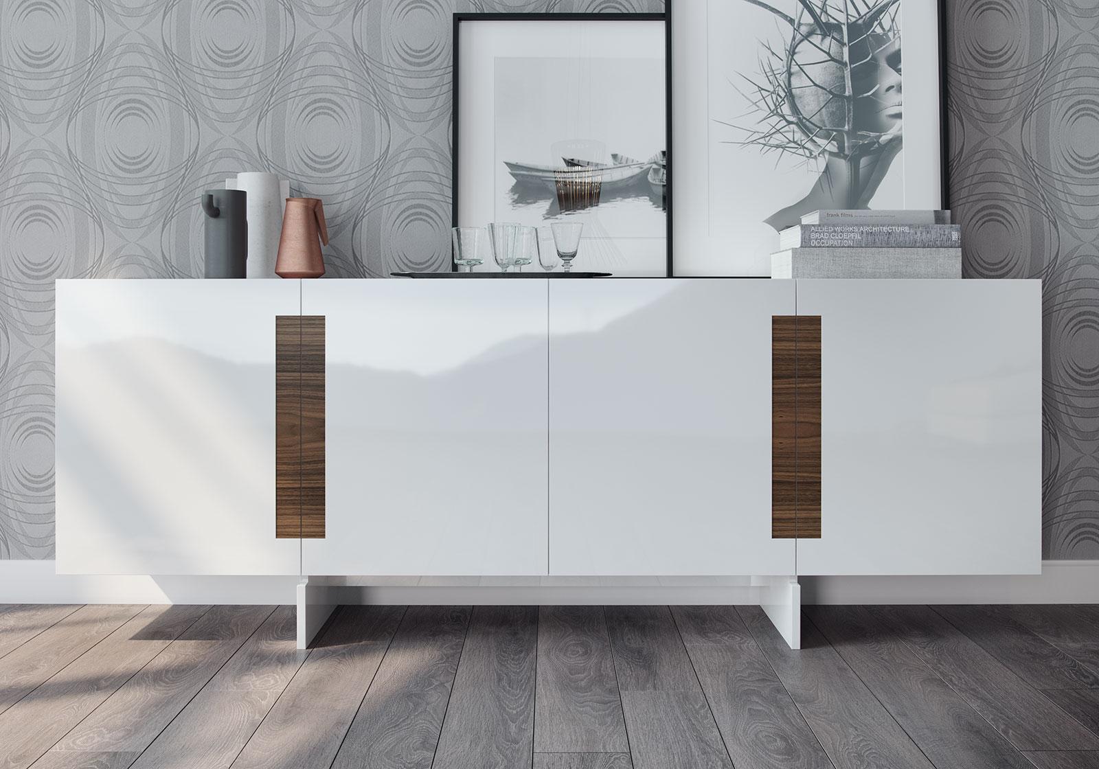 Brixton Glossy White Sideboard Las Vegas Furniture Store