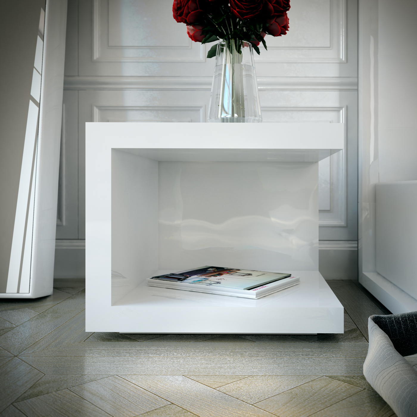 Ludlow White Lacquer Bedside Table Las Vegas Furniture Store Modern Home Furniture