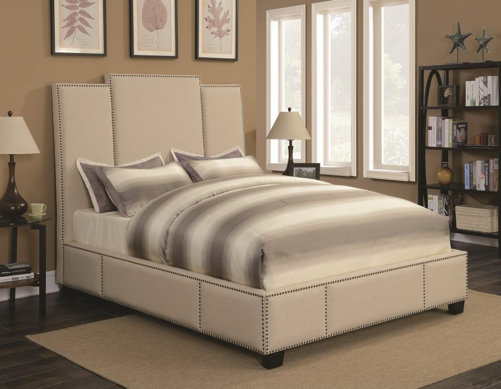 Lawndale Upholstered Bed In Beige Fabric Las Vegas