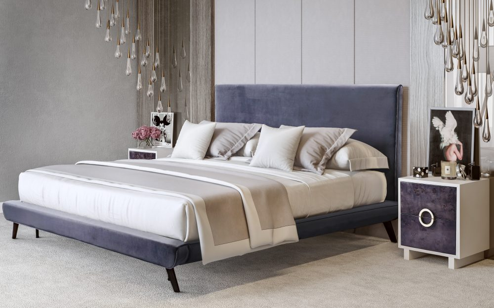 nixon grey velvet platform bed