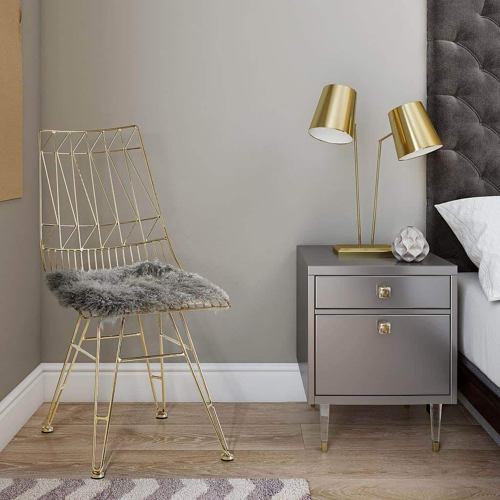 Cheap Bedroom Sets Las Vegas: Charm Gloss Grey Bed Side Table