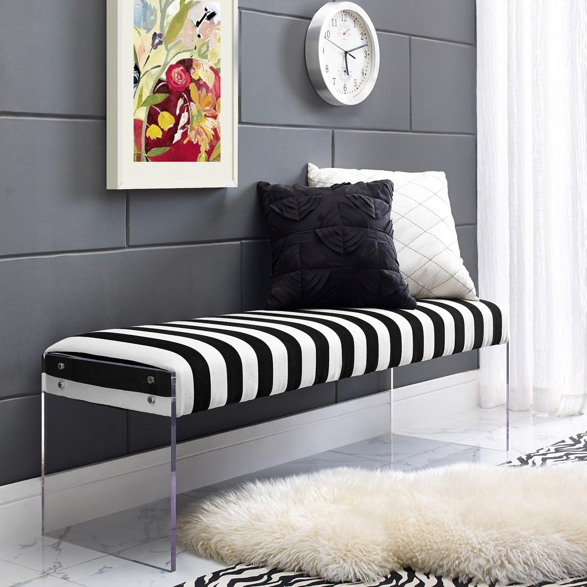 envy paris black and white velvet bench las vegas