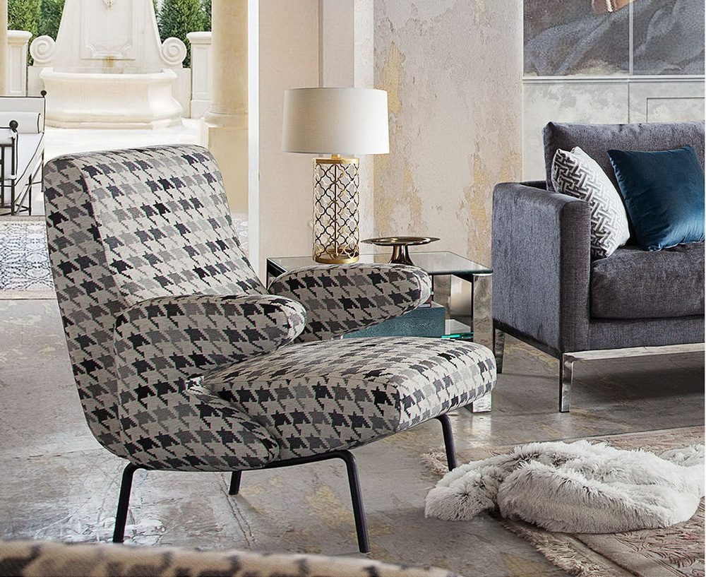 Harper Houndstooth Fabric Accent Chair Las Vegas