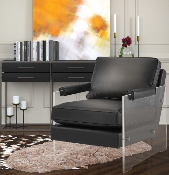 serena black eco-leather accent chair las vegas
