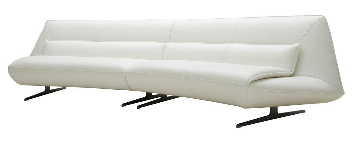 Beckley Modern White Leather Sofa