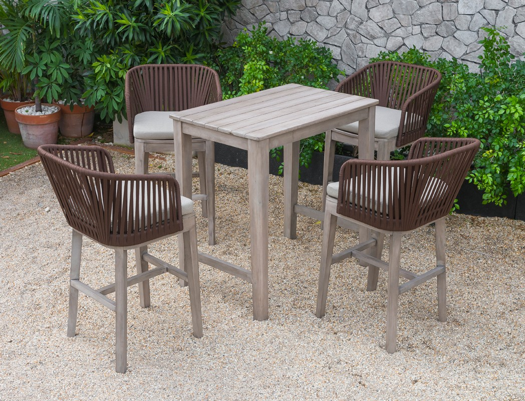 Renava Fiji Outdoor Beige Bar Table Set Las Vegas Furniture Store Modern Home Furniture