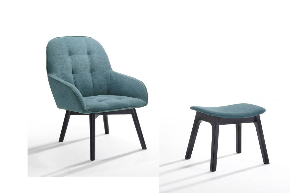 ruben modern teal black accent chair ottoman las vegas furniture store modern home. Black Bedroom Furniture Sets. Home Design Ideas