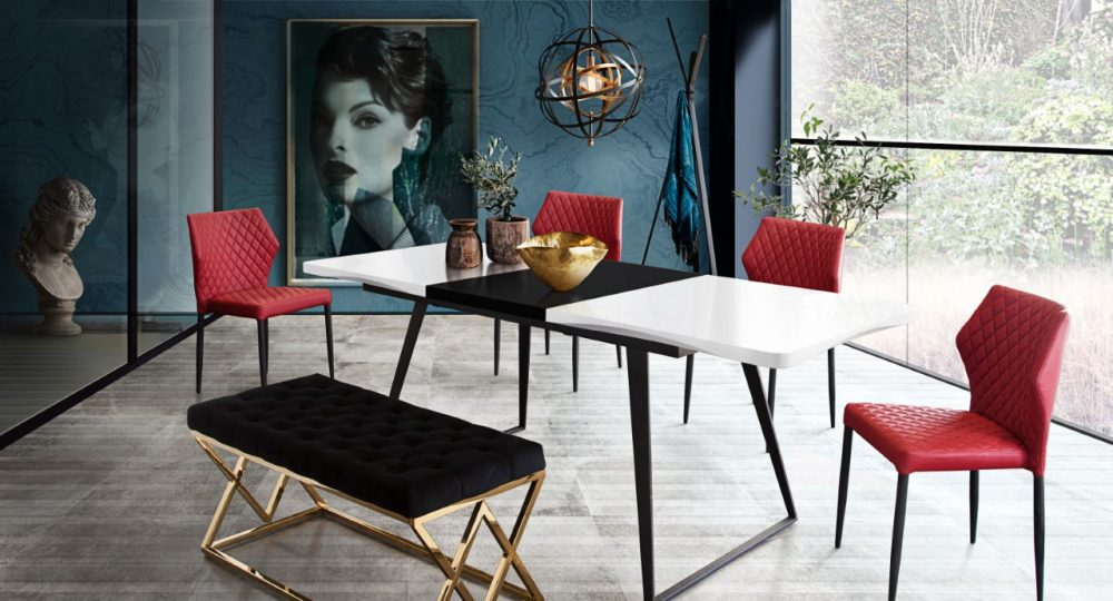 tempo black and white dining table