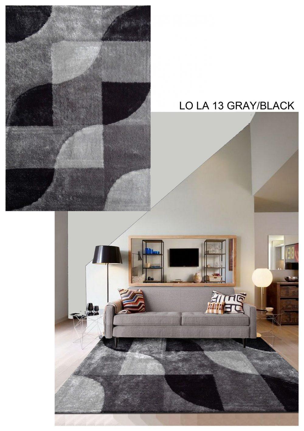 lola 13 grey black square area rug