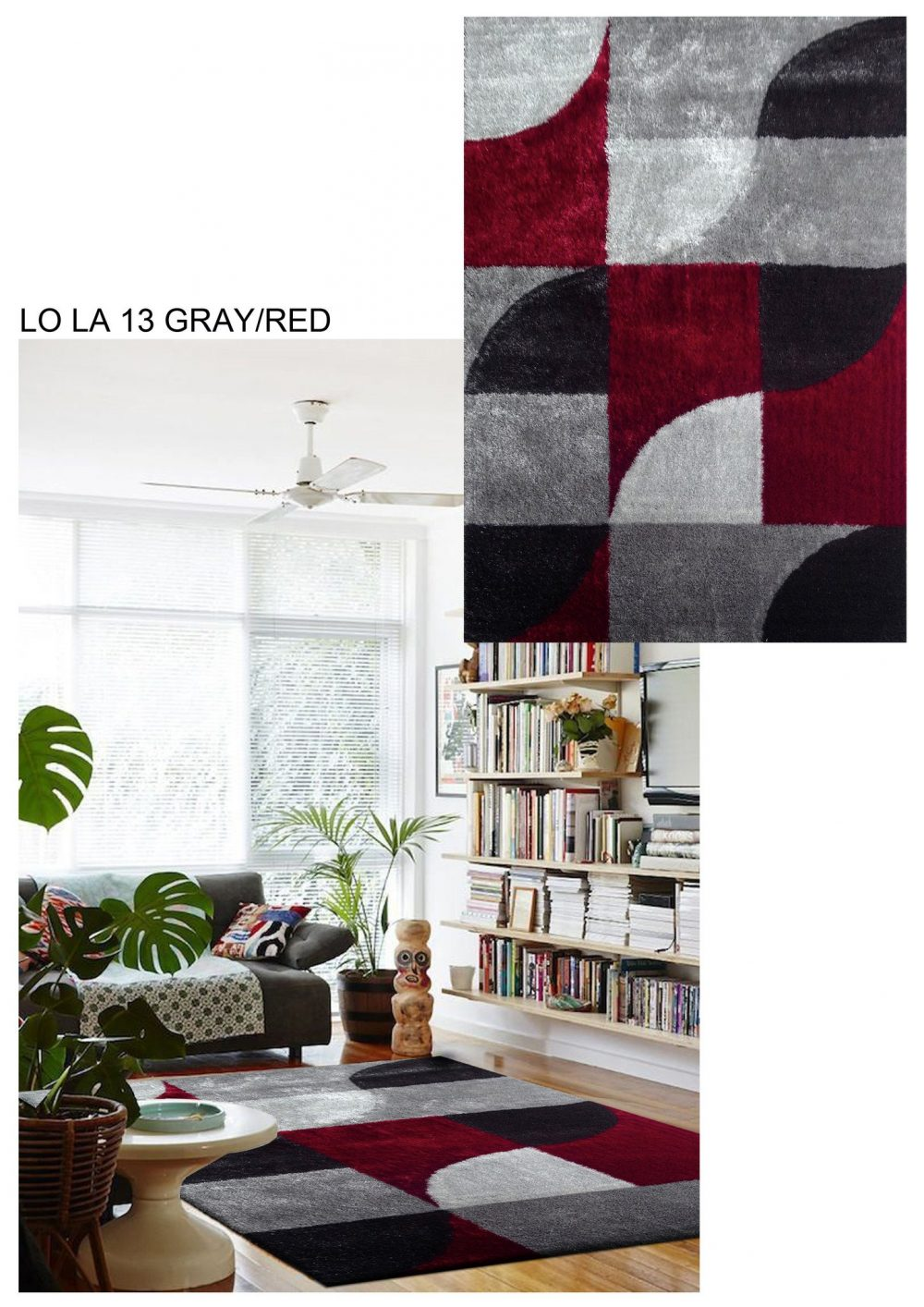 lola 13 grey red area rug