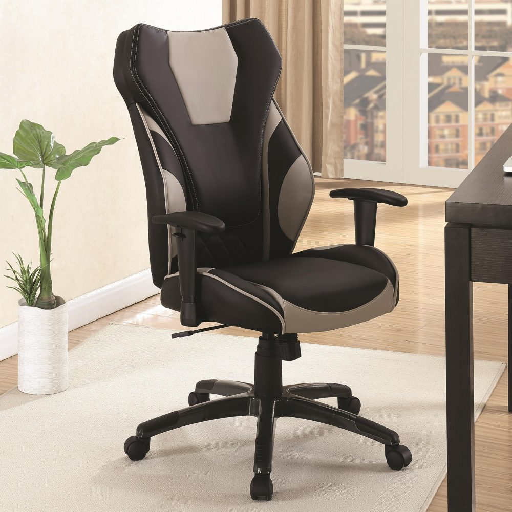 Black And Grey Leatherette High Back Office Chair Las