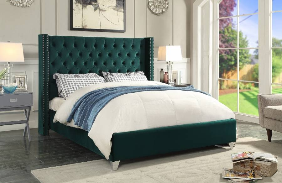 1242-1 Aiden Green velvet bed frame