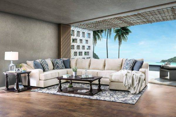 Ivory fabric u shape sectional in las vegas nevada