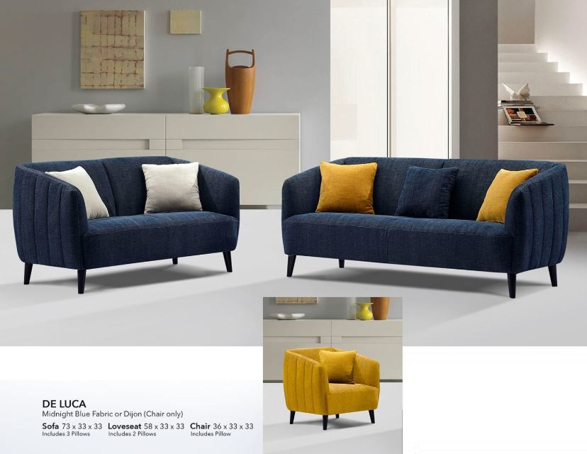 De Luca Midnight Blue Fabric Sofa Collection Las Vegas