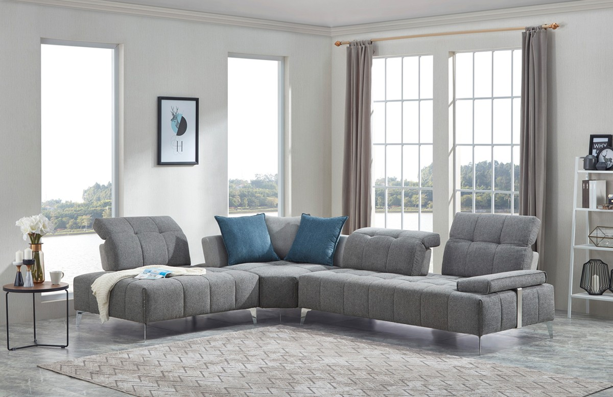 Nash Modern Contemporary Grey Tufted Fabric Sectional Sofa ...