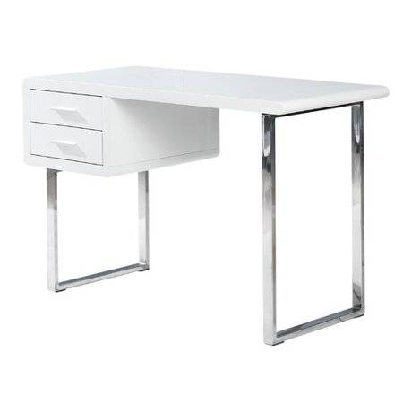 White Lacquer Finish Computer Desk