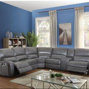 Grey leather recliner leather