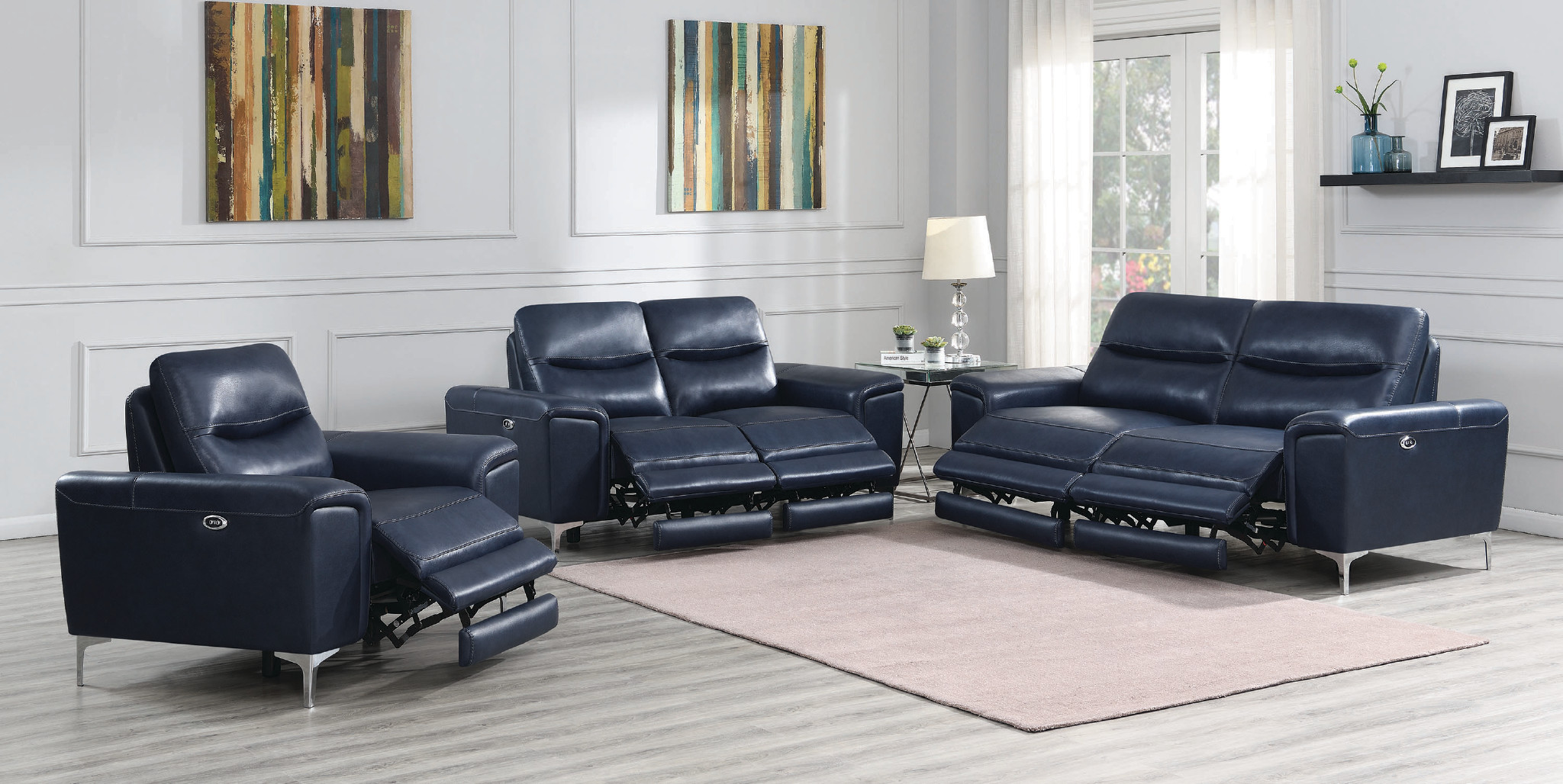 Largo Ink Blue Leather Recliner Collection Las Vegas