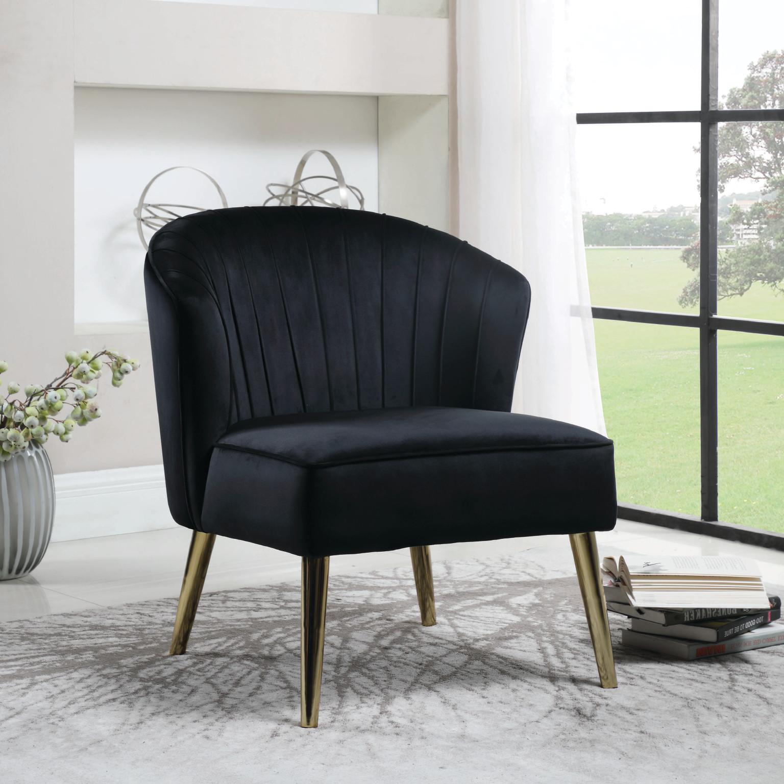 Cosem Black Velvet Accent Chair | Las Vegas Furniture ...