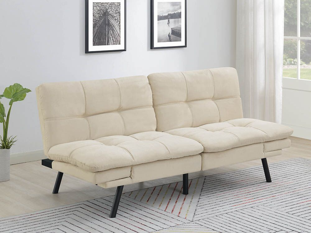 Havana Beige Microsuede Sofa Futon