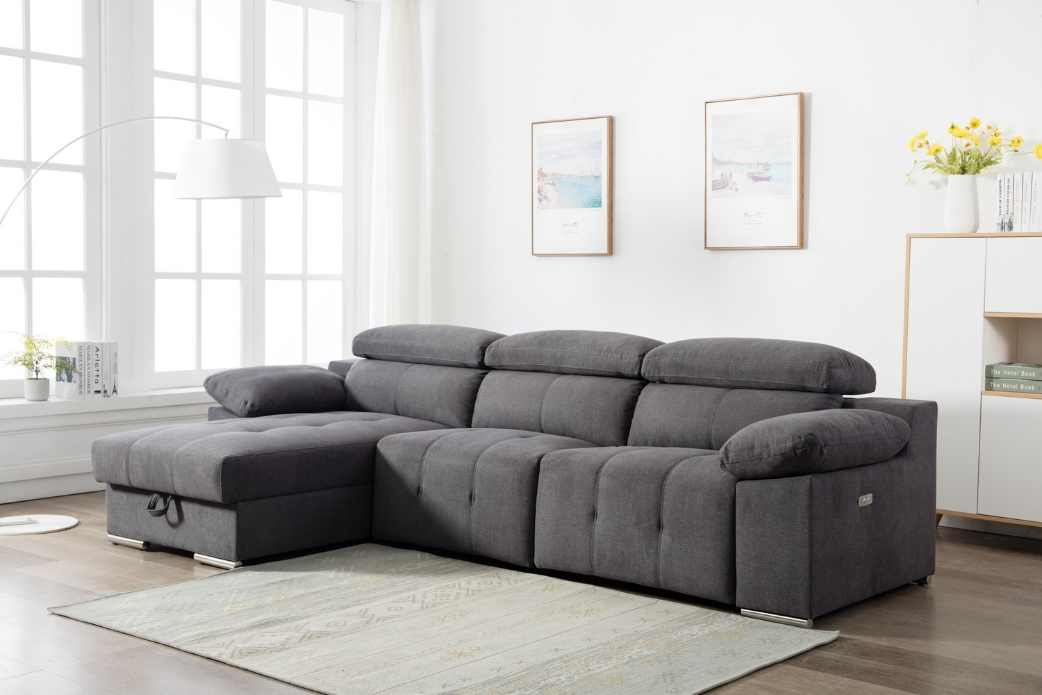 Sabrina Grey Left Chaise Reclining Sectional with Storage