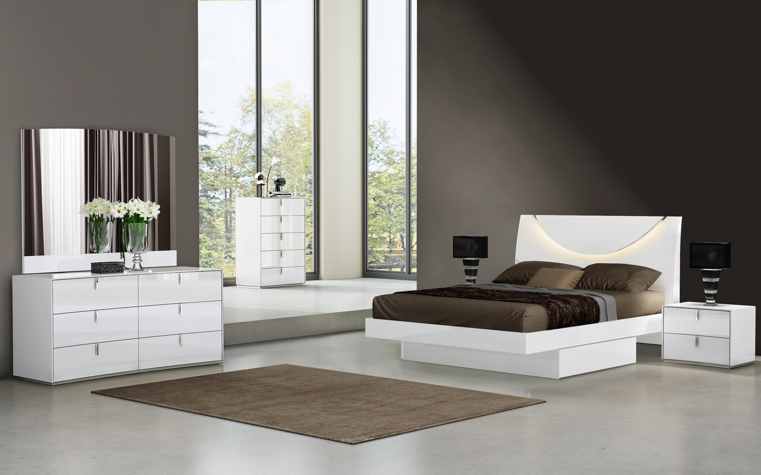 Bellagio White Lacquer Bedroom Collection