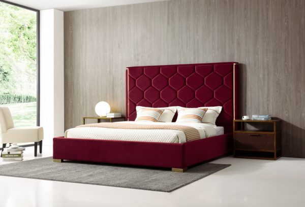 VIG-75450 Janet Red Velvet Modern Bed Frame