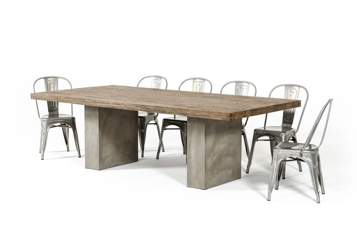Renzo Oak & Concrete Dining Table Collection