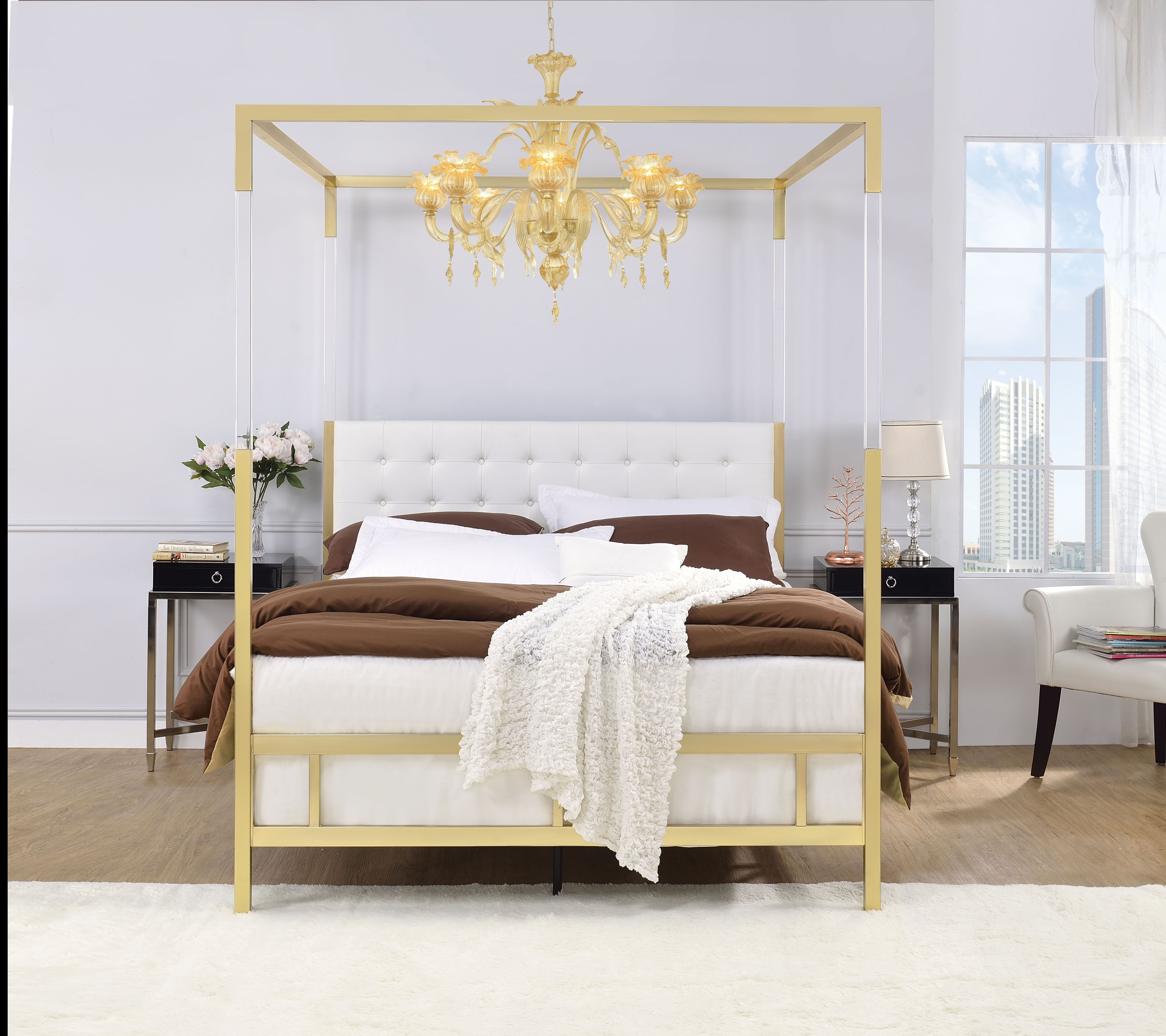AC 22680 WHITE GOLD CANOPY BED