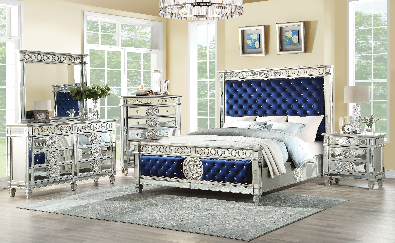 AC 26150 SILVER BLUE VELVET BED FRAME
