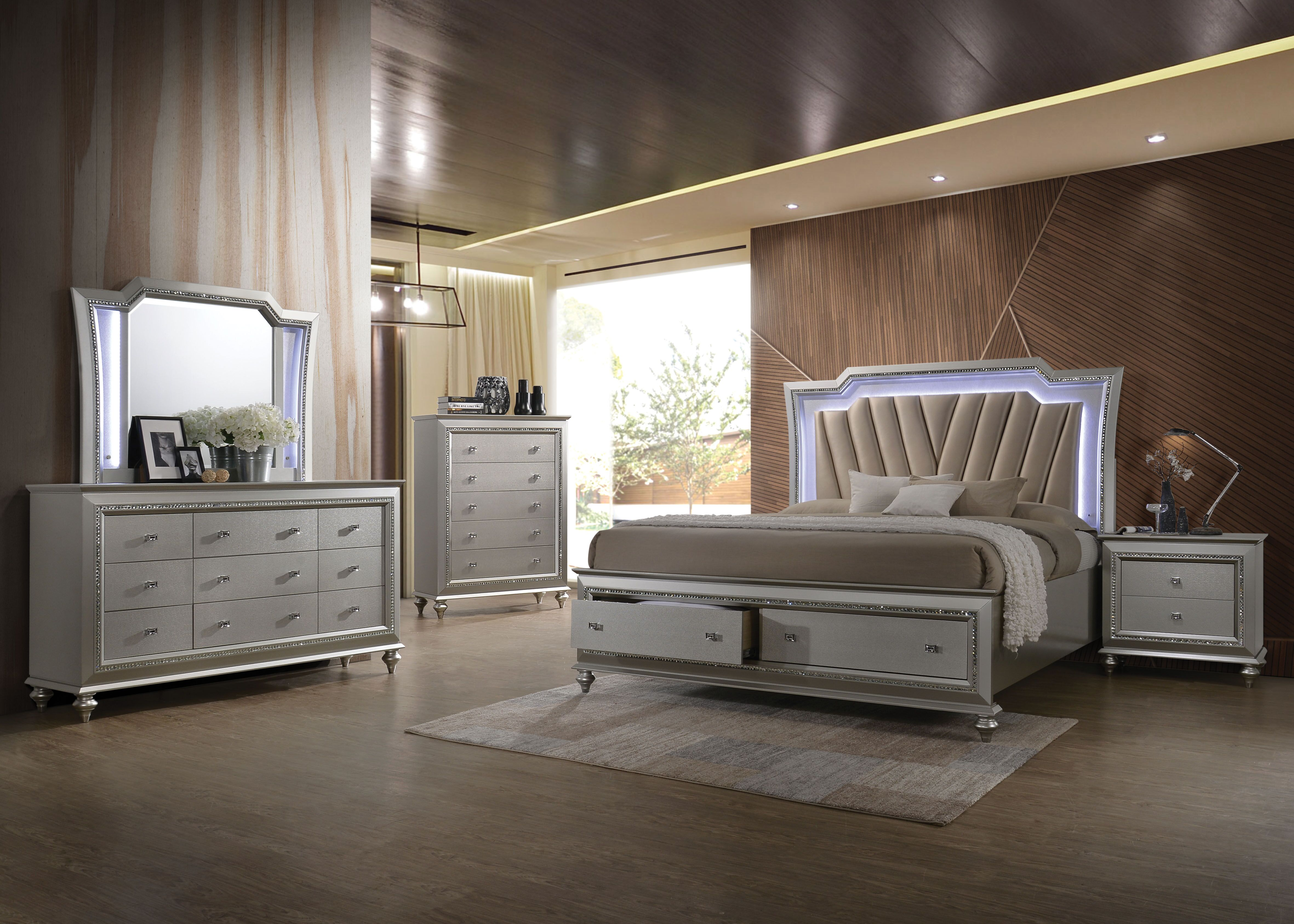 Kaitlyn Champagne Finish with LED Light Headboard Bedroom Collection